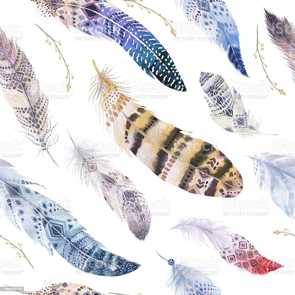 Feathers pattern. Watercolor elegant background. Watercolour col stock photo