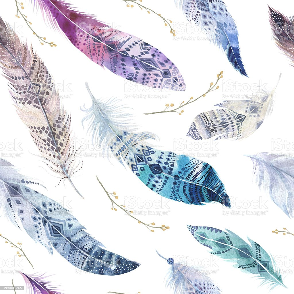 Feathers pattern. Watercolor elegant background. Watercolour color organic design print. stock photo