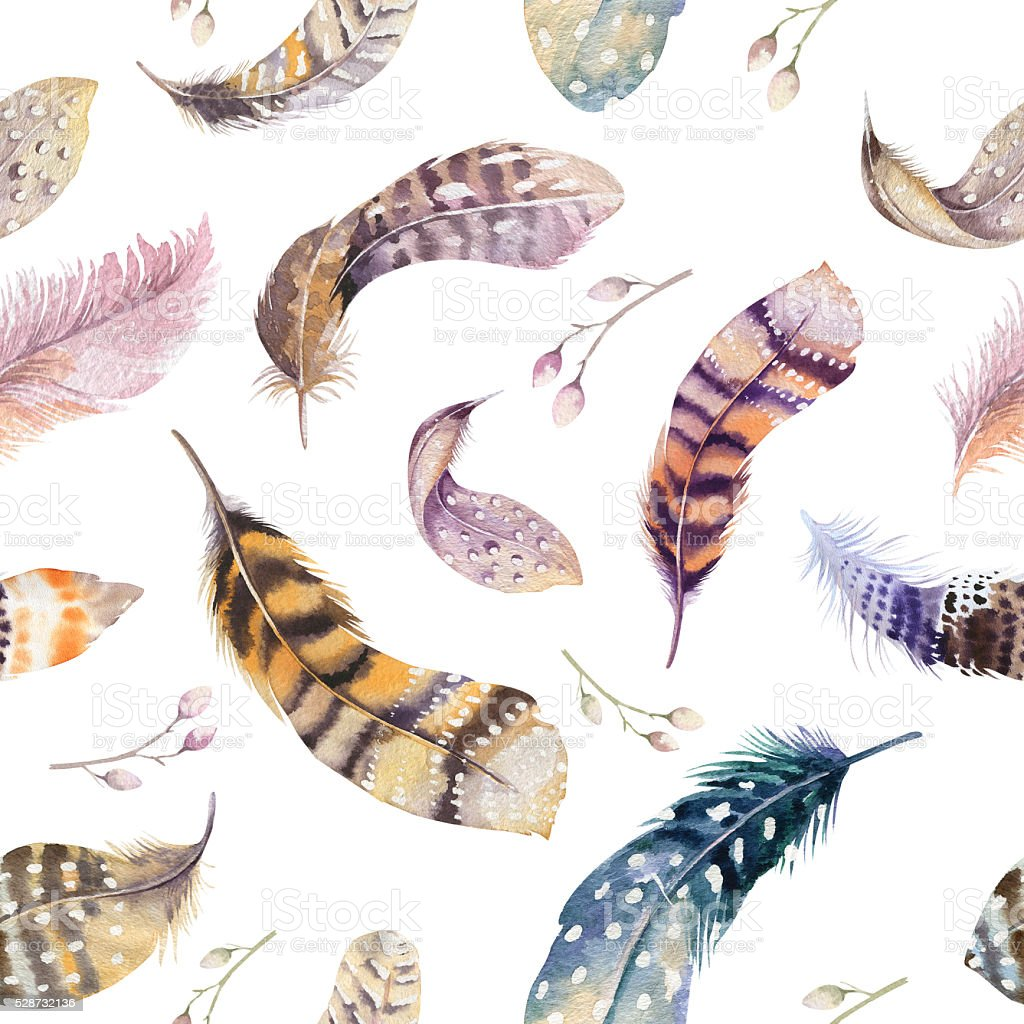 Feathers repeating pattern. Watercolor background with seamless stock photo