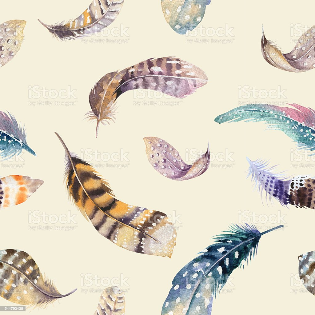 Feathers repeating pattern. Watercolor background with seamless illustration. stock photo