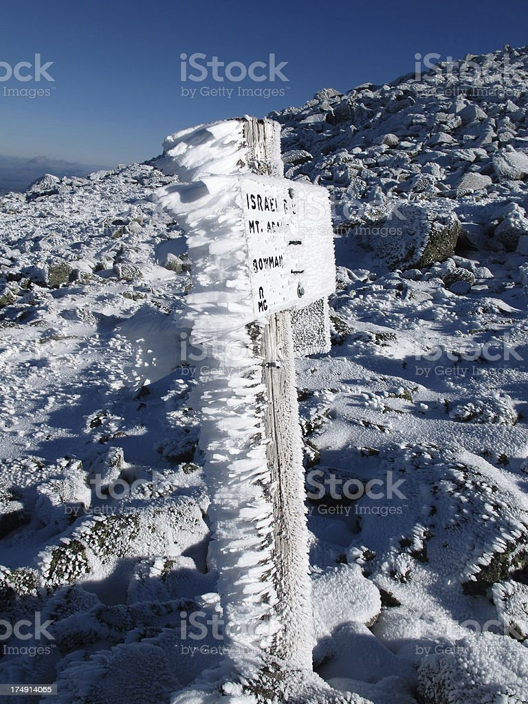 Feathery Rime Ice on Trail Sign royalty-free stock photo