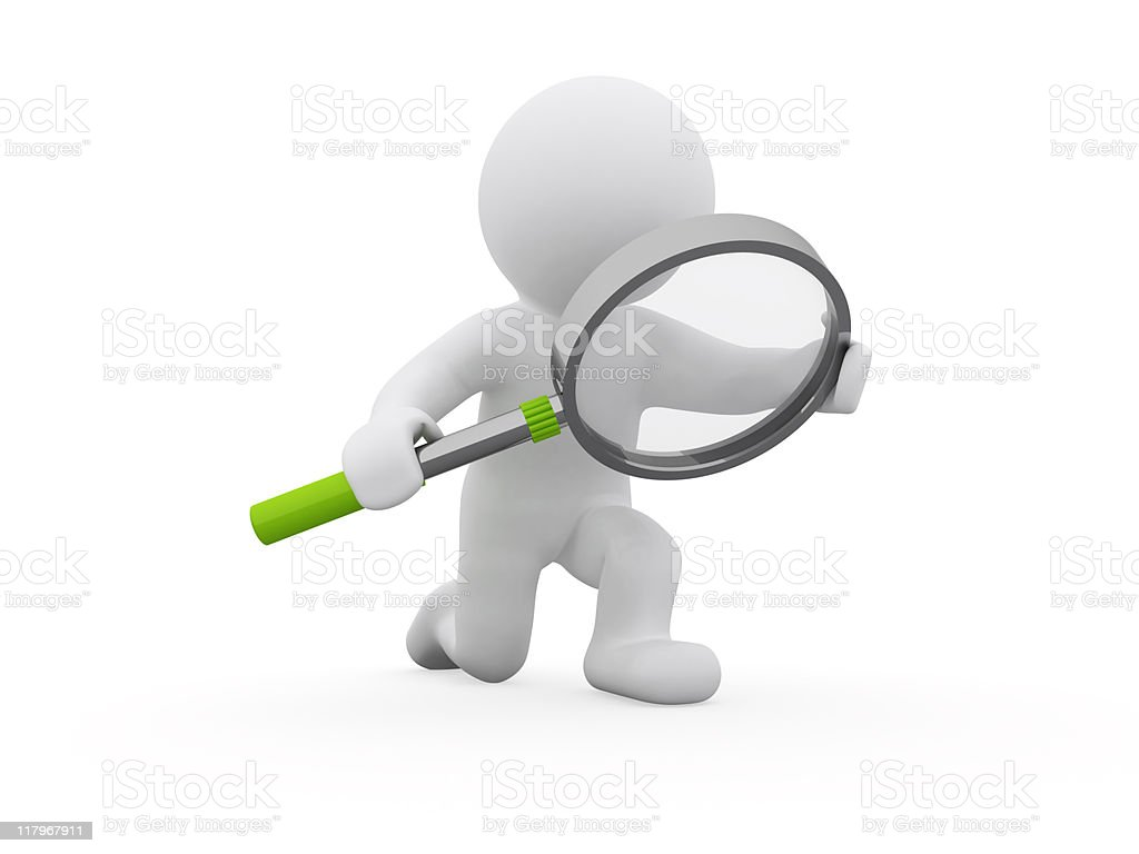Featureless figure holding a giant magnifying glass stock photo