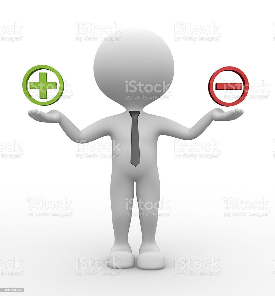 Featureless figure holding a green + and a red - stock photo