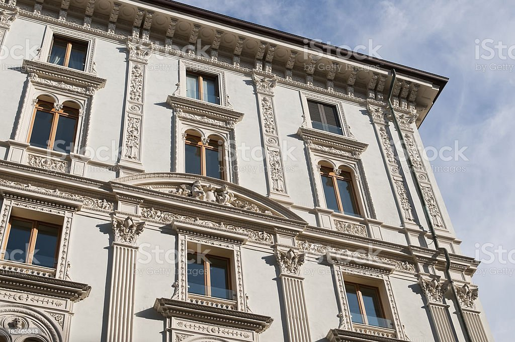 Features of an Elegant White Decorated Italian Building stock photo