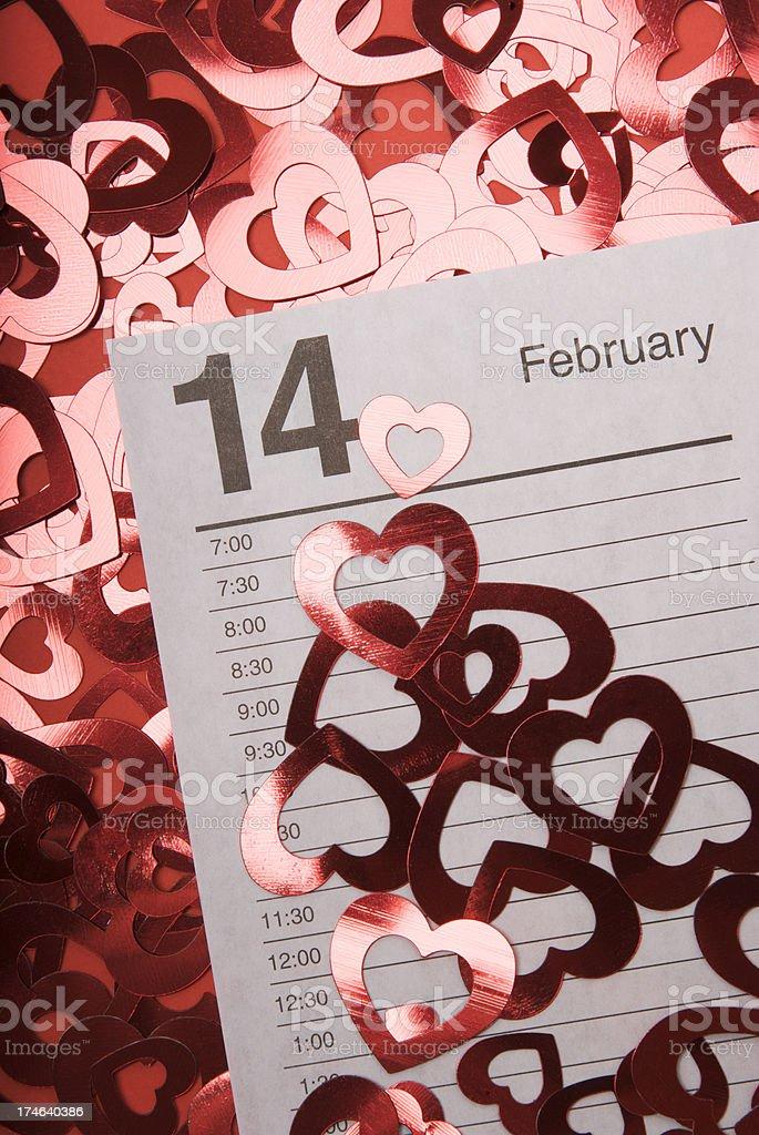 February 14 Calendar Page stock photo