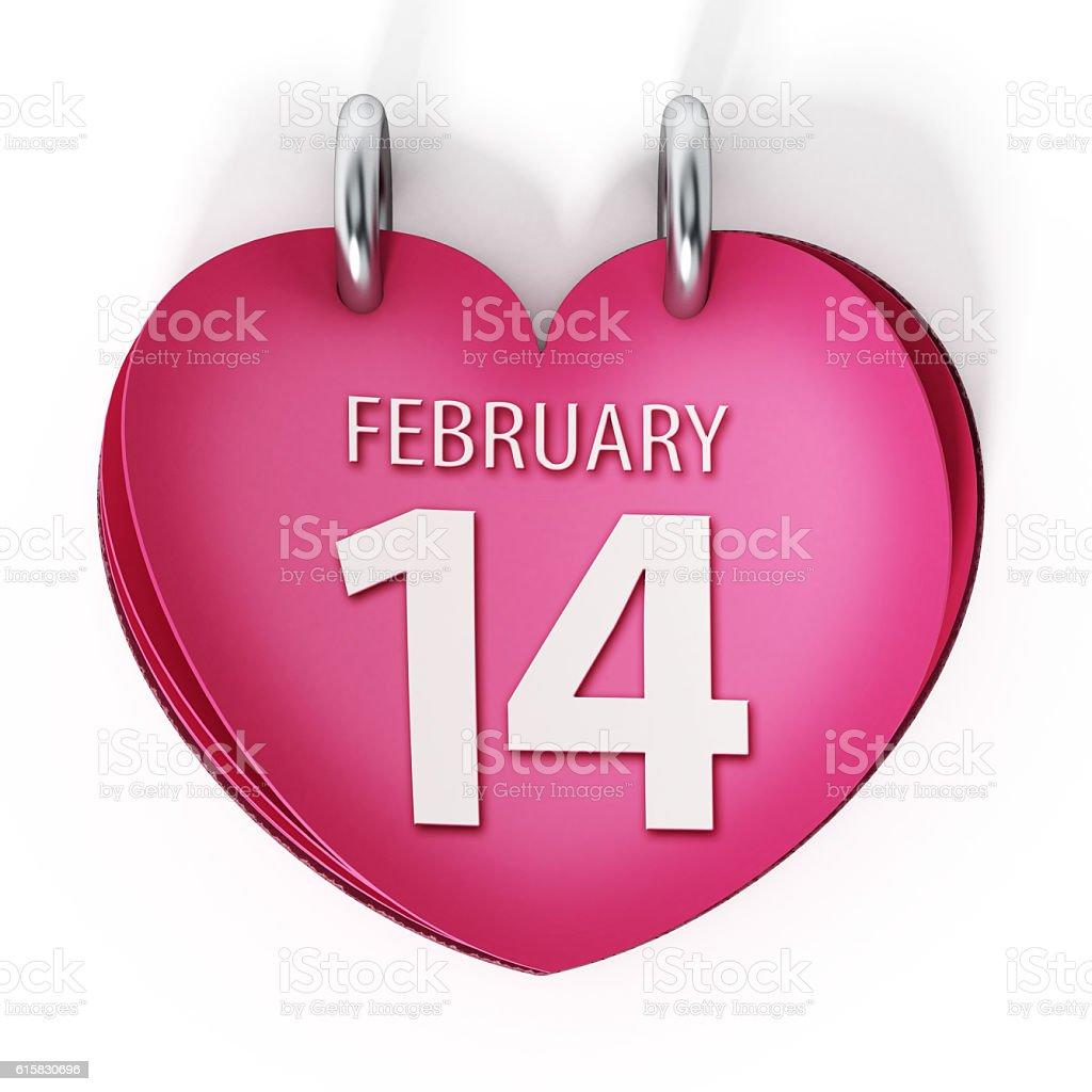 February 14 text on heart shaped desktop calendar page stock photo