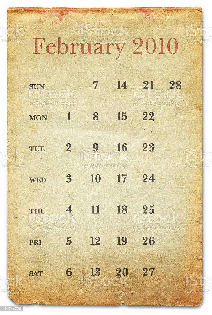 February 2010 - Old Paper Calendar royalty-free stock photo