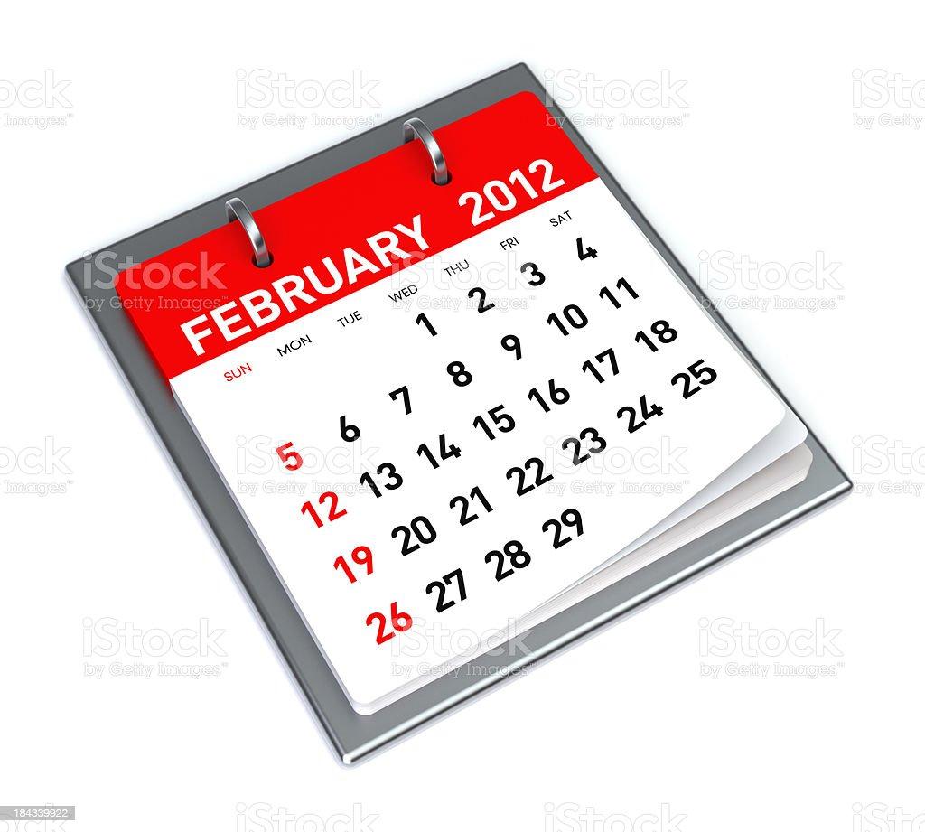 February 2012 - Calendar royalty-free stock photo