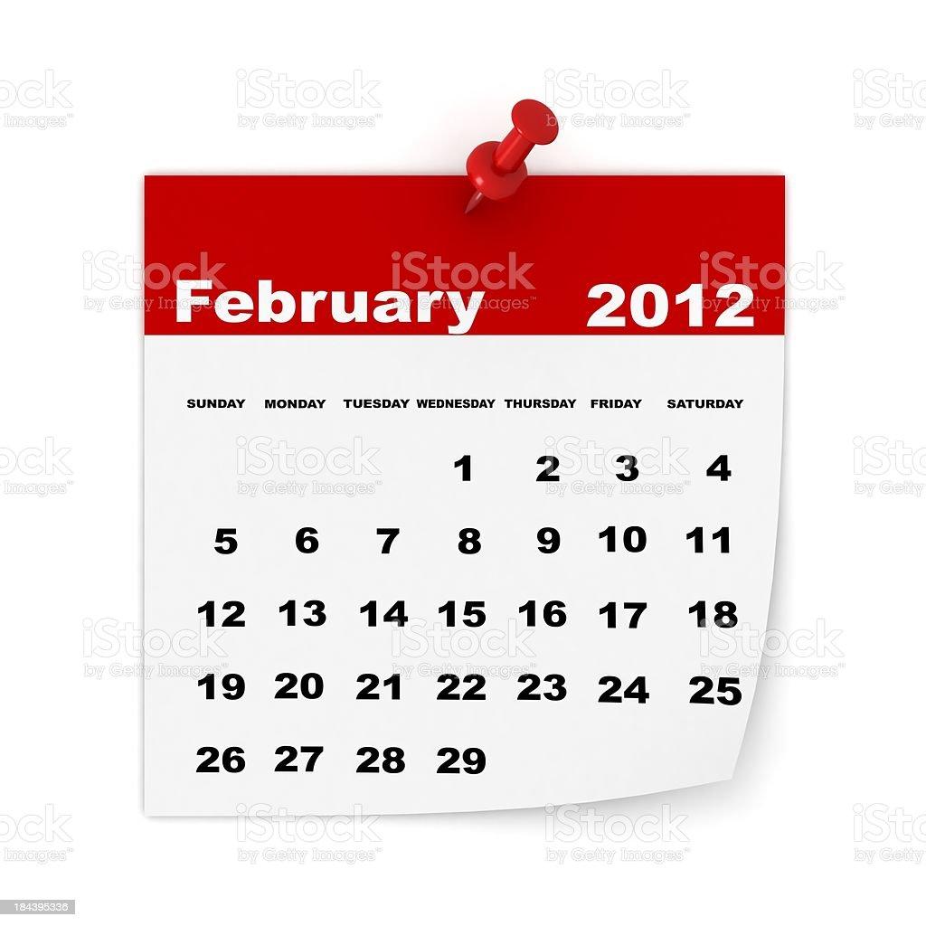 February 2012 Calendar royalty-free stock photo