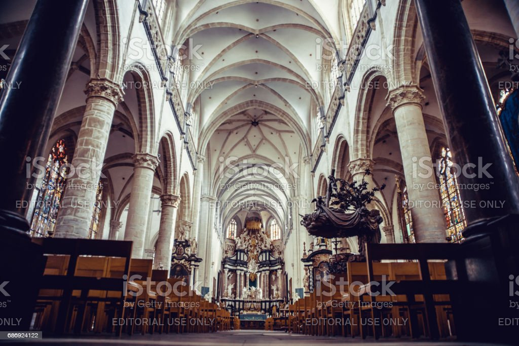 ANTWERP, BELGIUM - 24 February 2012 Interior of the 'Church of Our Lady' in Antwerp, Belgium stock photo