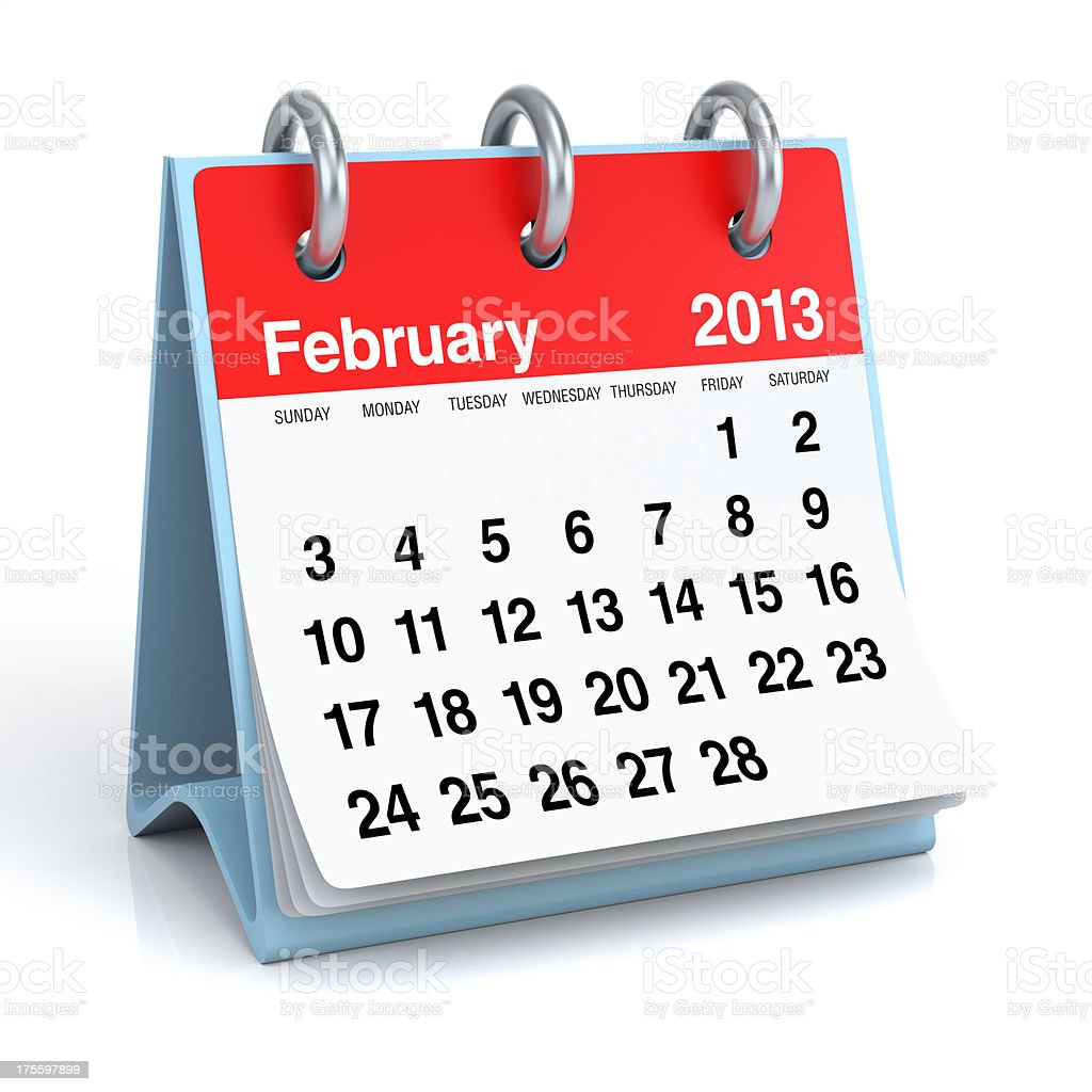 February 2013 - Calendar royalty-free stock photo