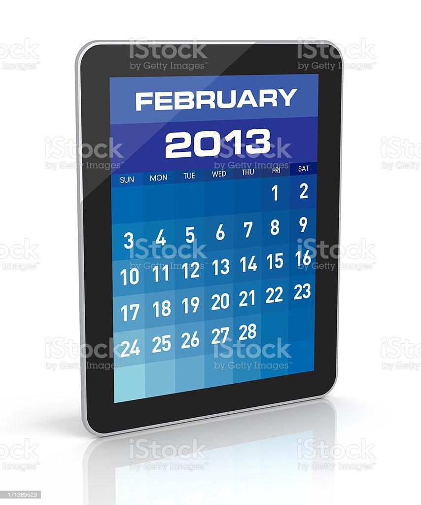 February 2013 - Tablet Calendar royalty-free stock photo
