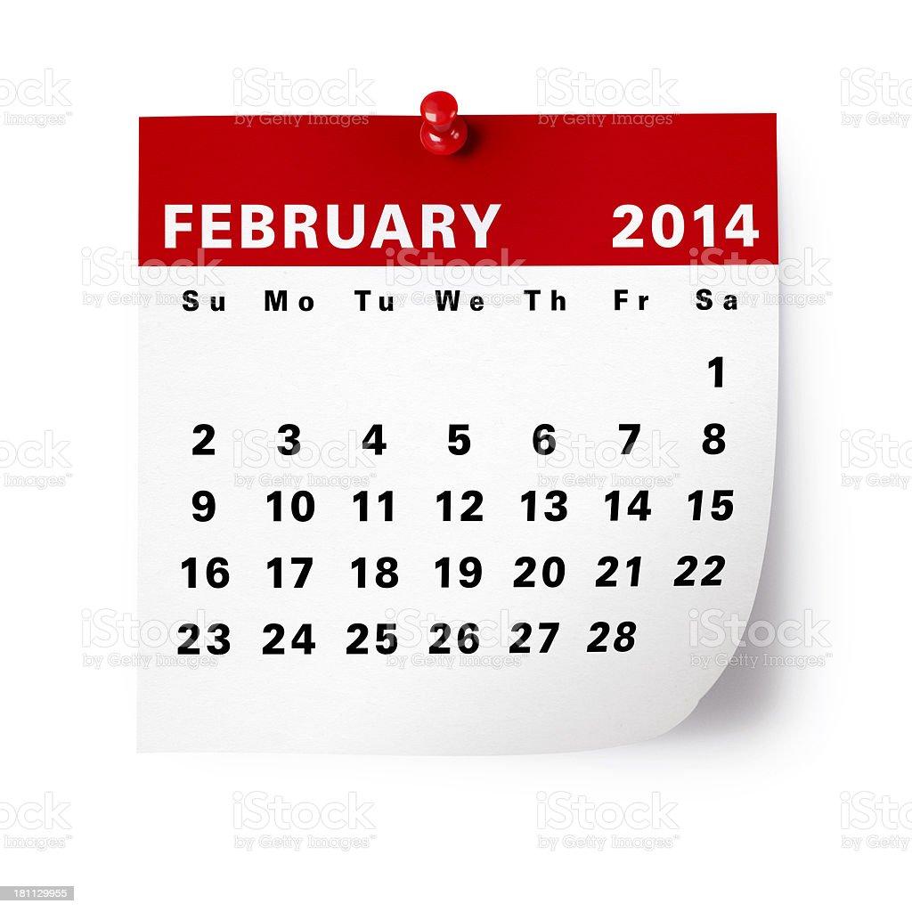 February 2014 Calendar royalty-free stock photo