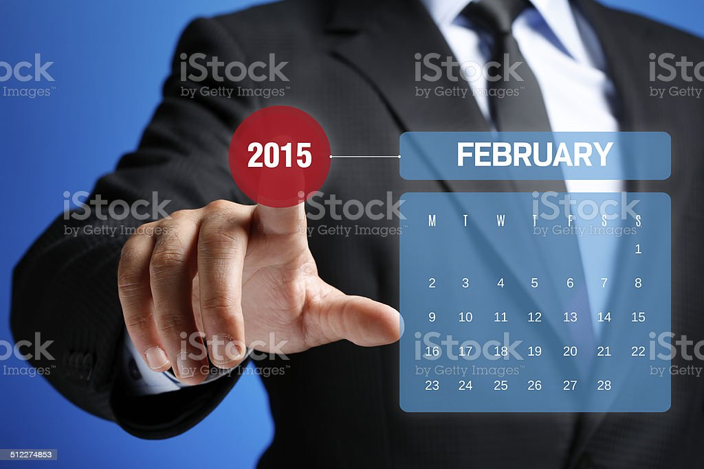 February 2015 Calendar on Interface Touchscreen stock photo