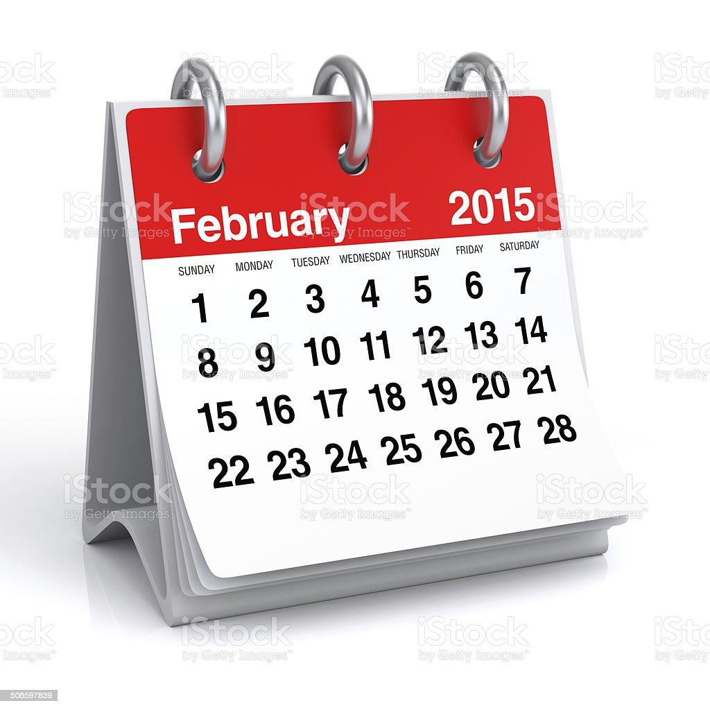 February 2015 - Calendar stock photo