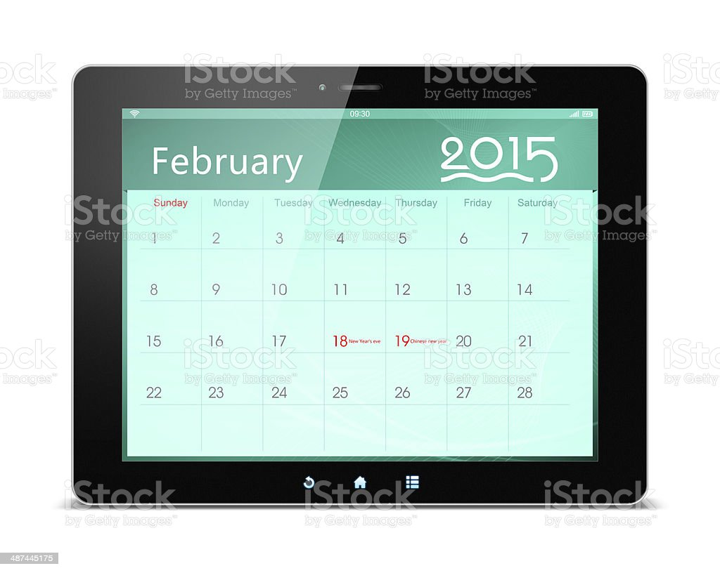 February 2015 Calender on digital tablet stock photo