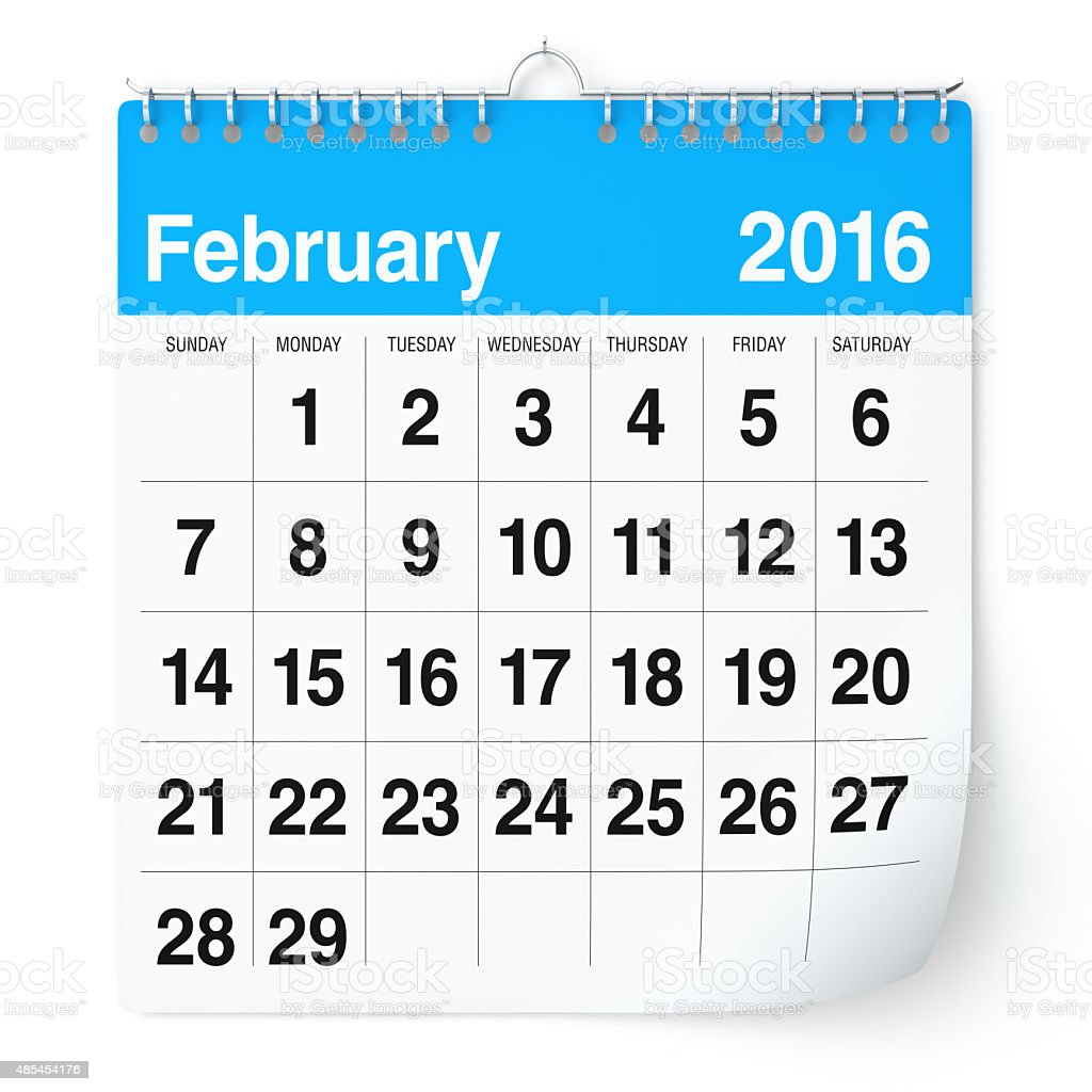 February 2016 - Calendar. stock photo