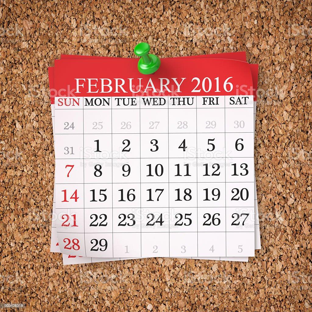 February 2016  Calendar stock photo