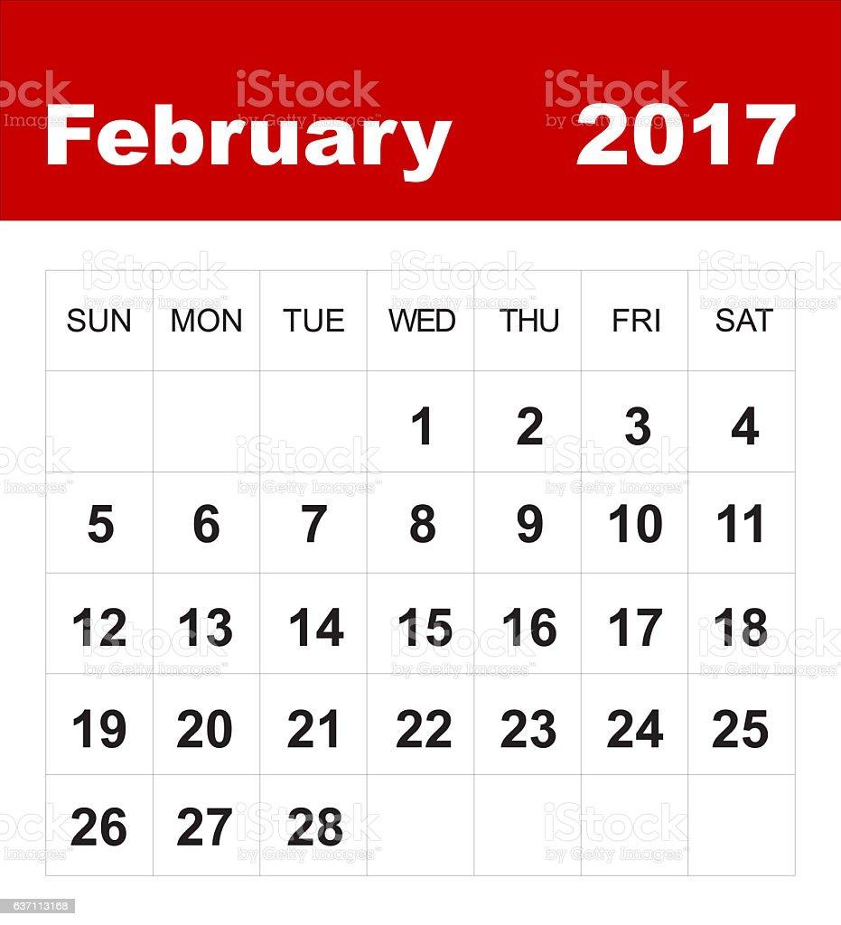 February 2017 calendar stock photo
