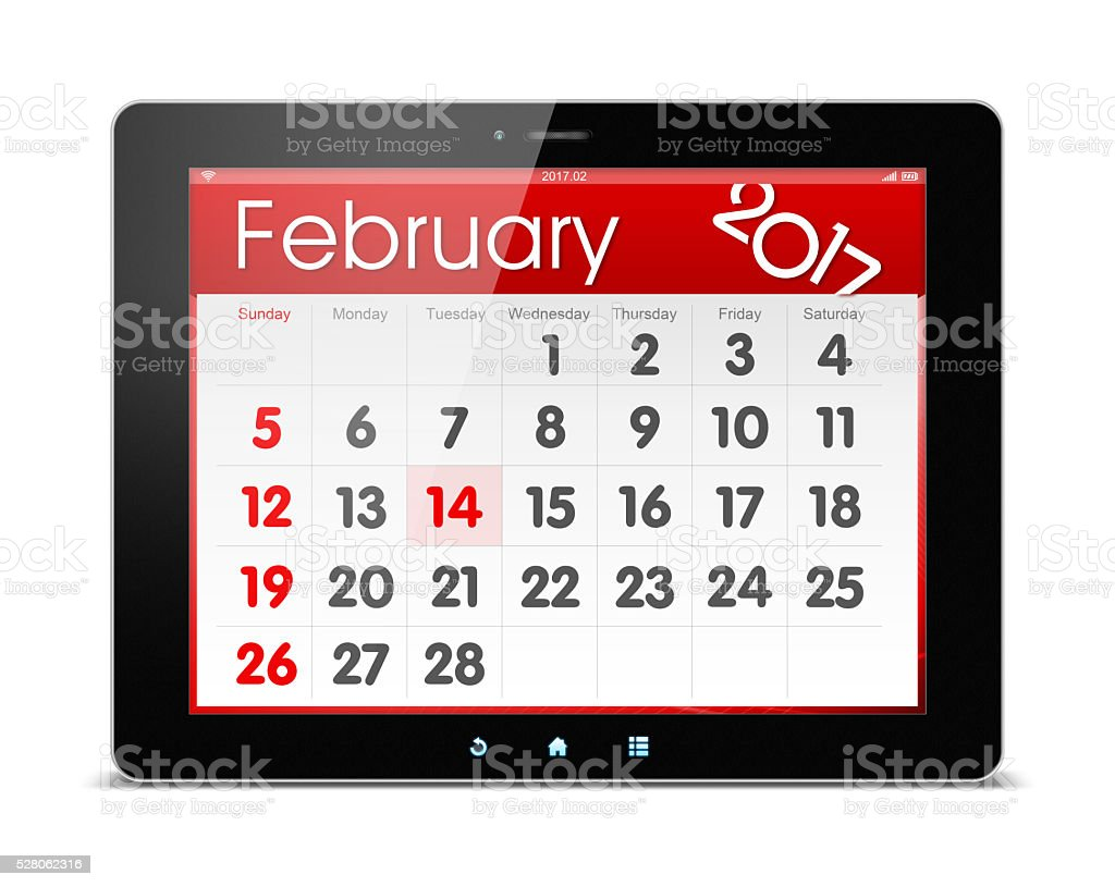 February 2017 Calender on digital tablet isolated on white stock photo