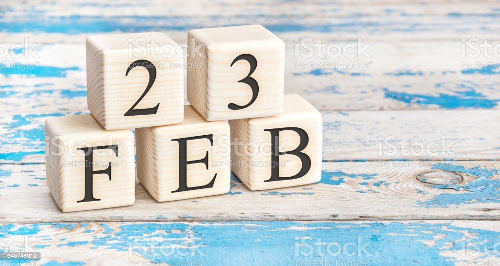 February 23th. Wooden cubes with date of 23 February. stock photo