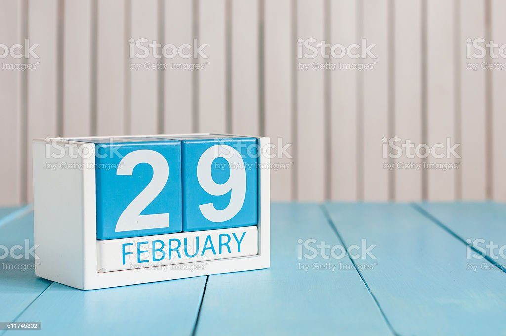 February 29th. Cube calendar for february 29 on wooden surface stock photo