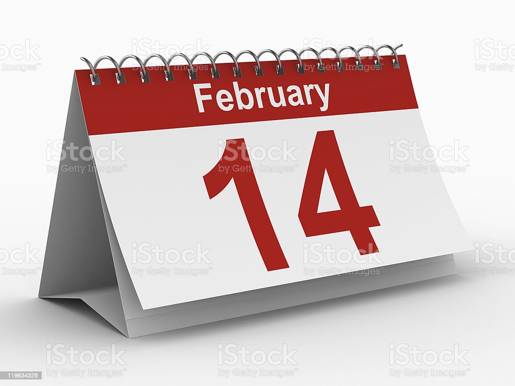 14 february calendar on white background. Isolated 3D image stock photo