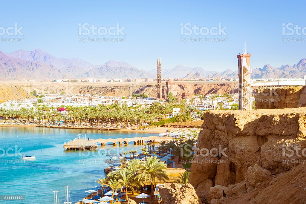 February day on the beach in Sharm El Sheikh stock photo