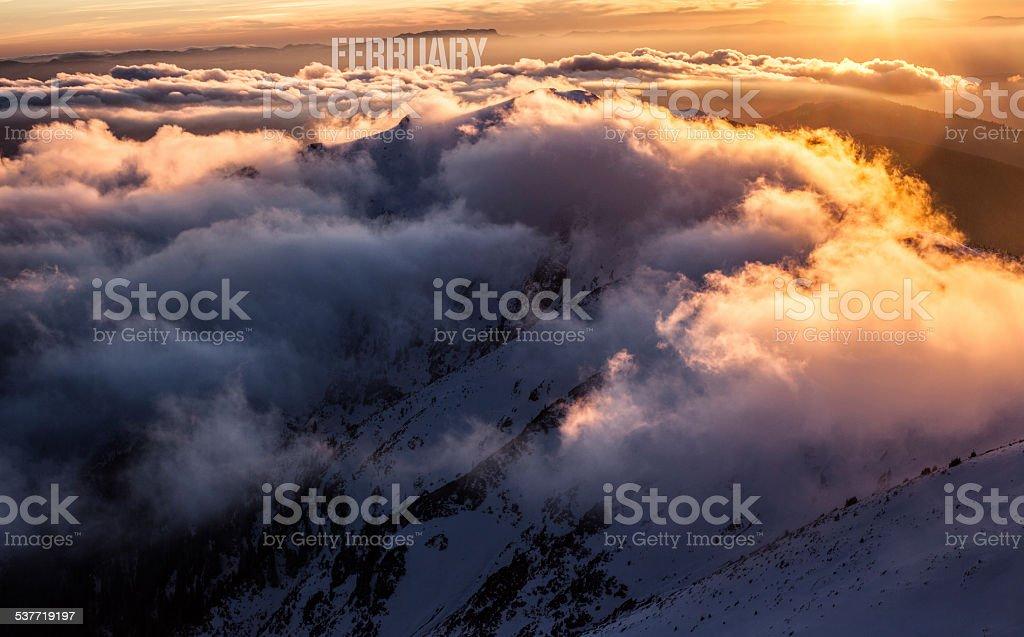 February. Mountains royalty-free stock photo