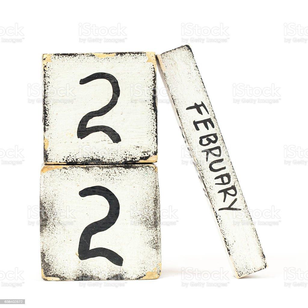 February Twenty Two stock photo