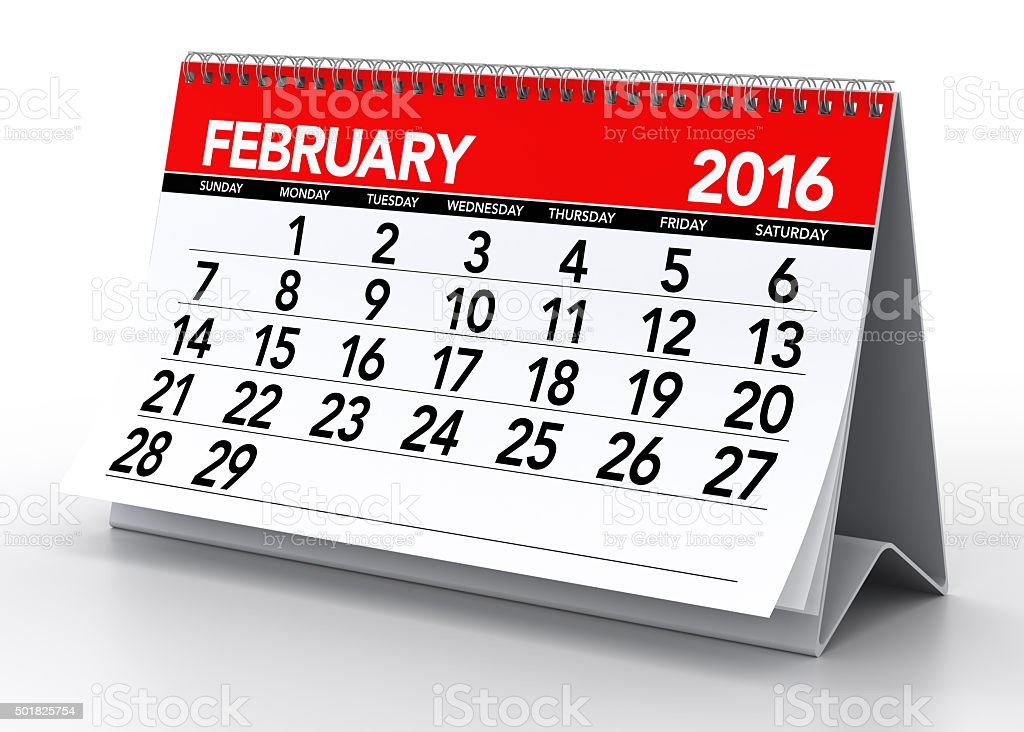 February2016 Calendar stock photo