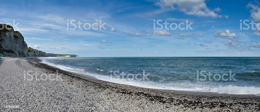 fecamp beach and cliffs stock photo