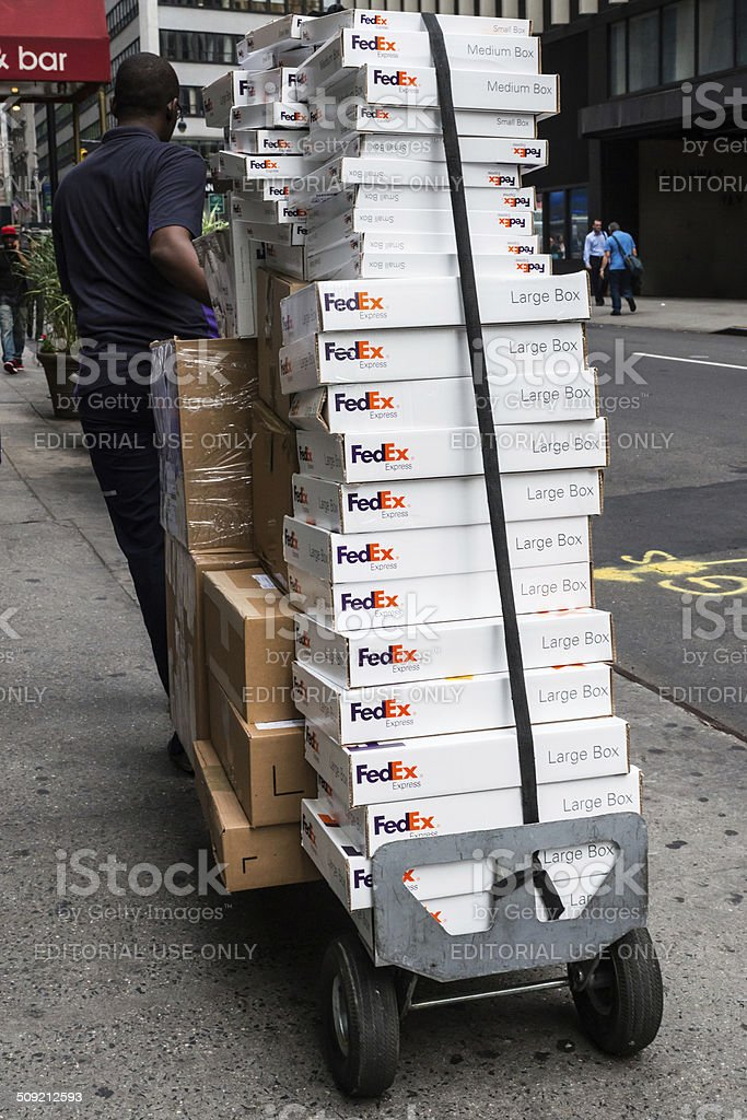 Fed Ex Delivering stock photo