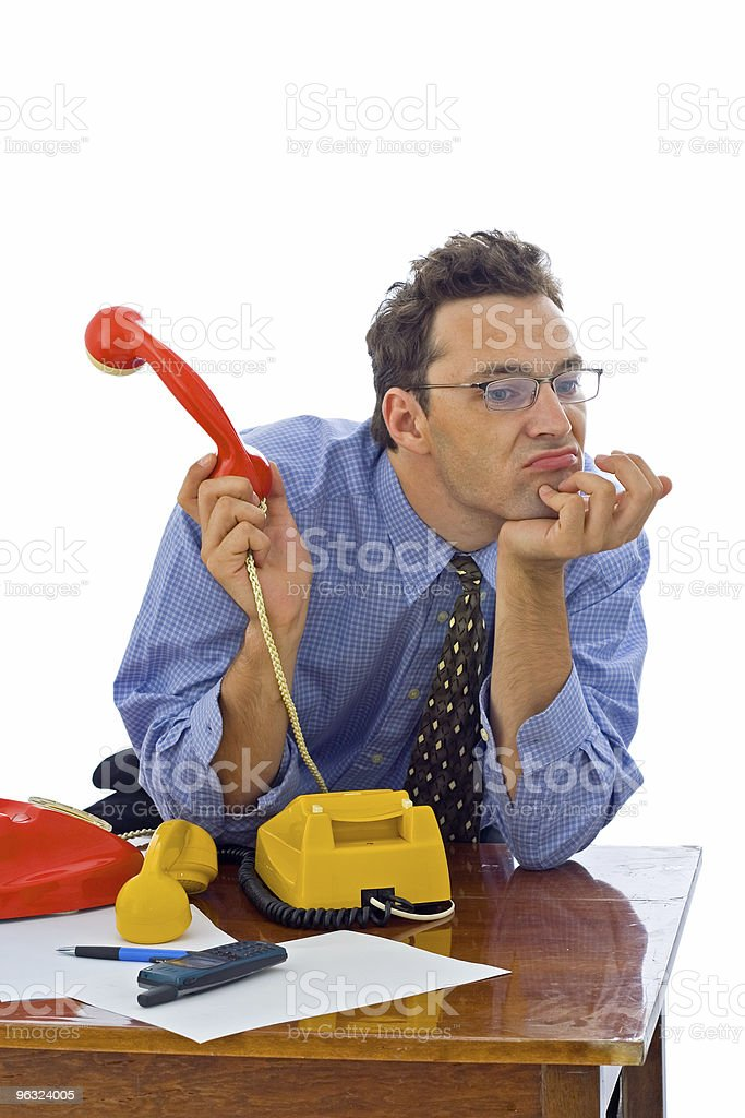 Fed up with phone calls royalty-free stock photo