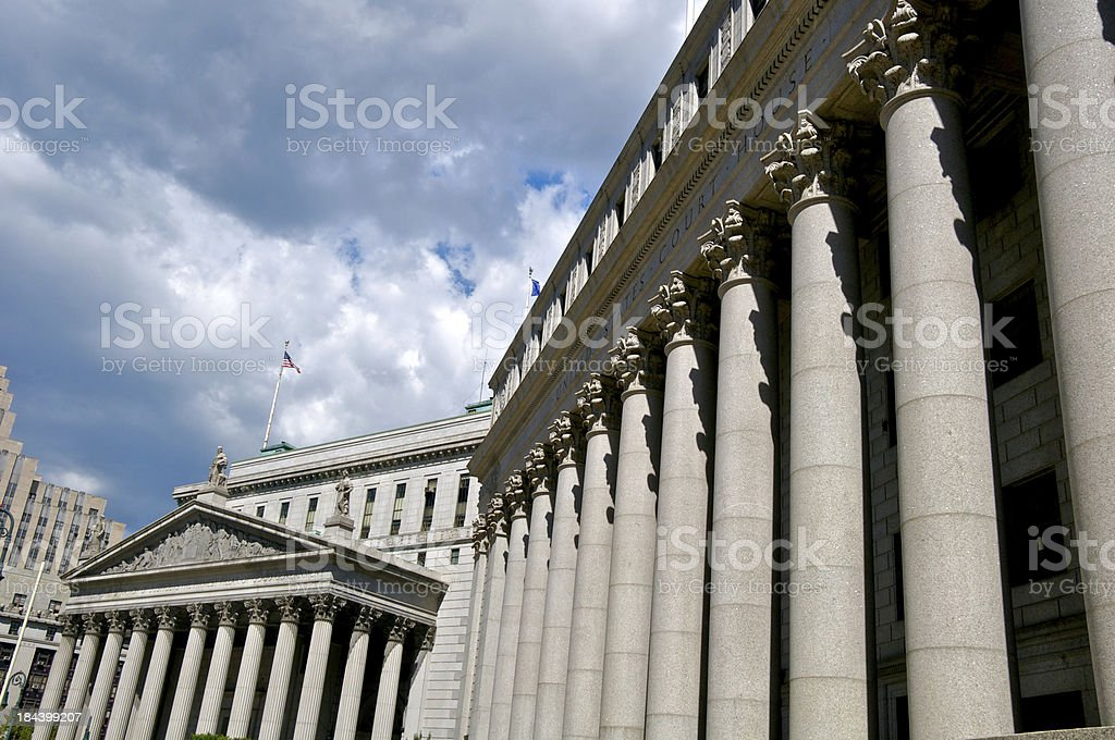 Federal and State courthouse colonnade facades, Foley Square, Manhattan, NYC stock photo