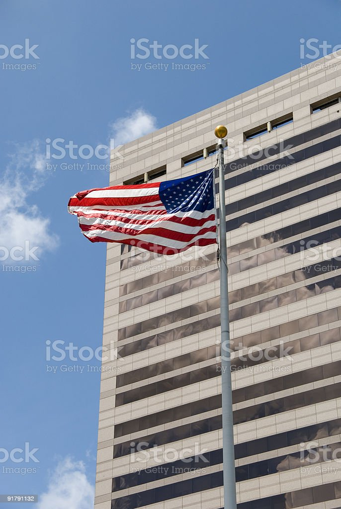 Federal building with American flag royalty-free stock photo