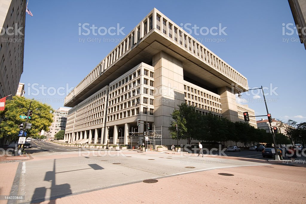 Federal Bureau of Investigation FBI Building Washington DC, Blue Sky stock photo