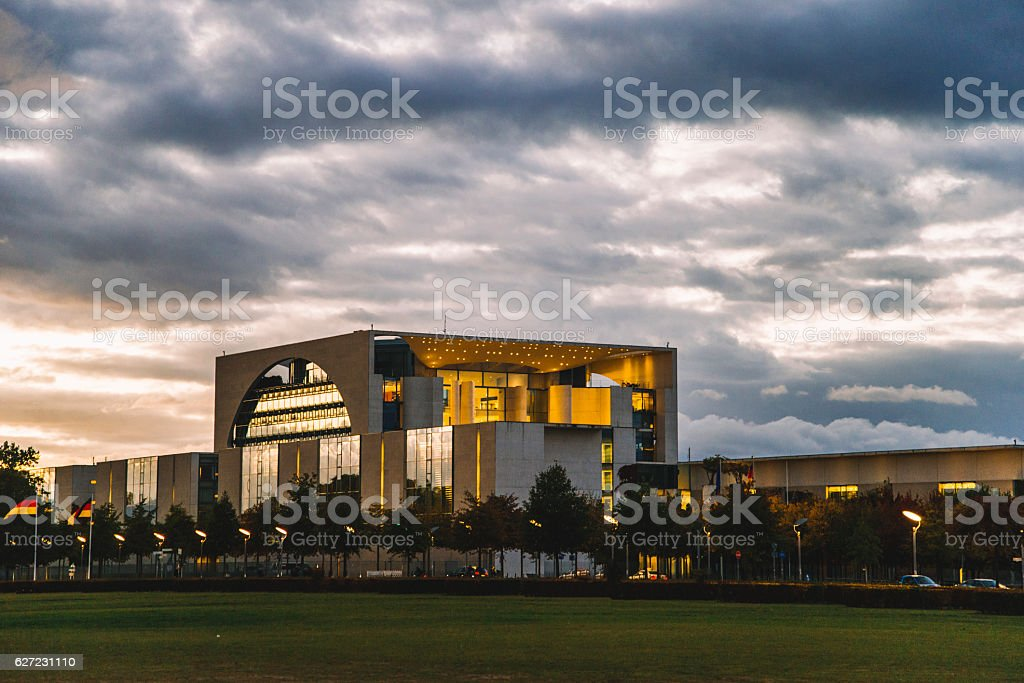 Bundeskanzleramt at night stock photo