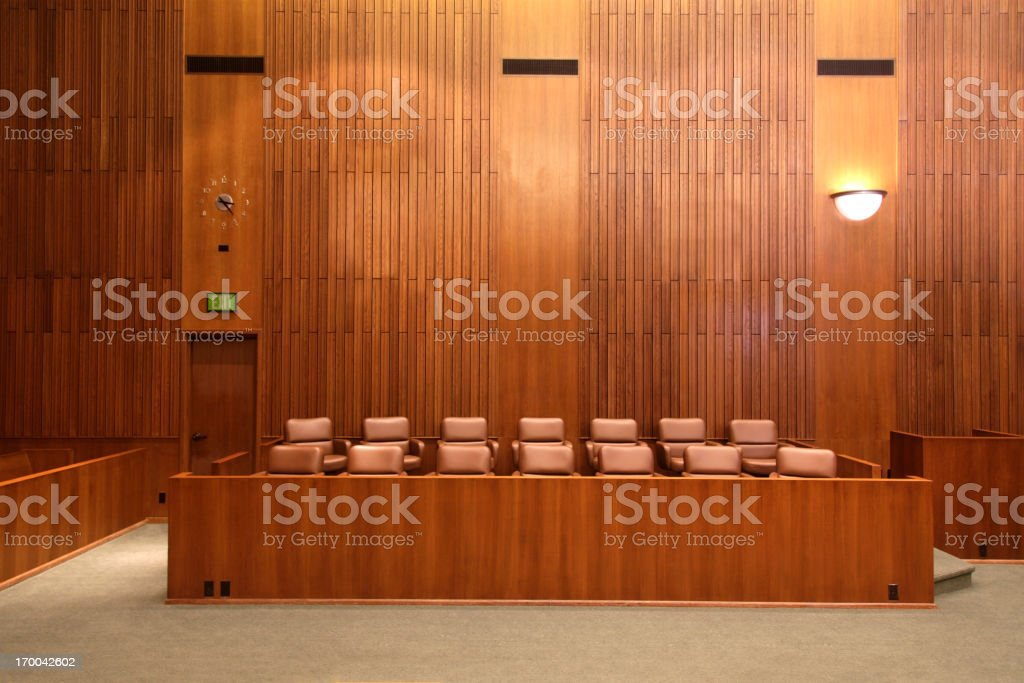 Federal Court Jury Box stock photo