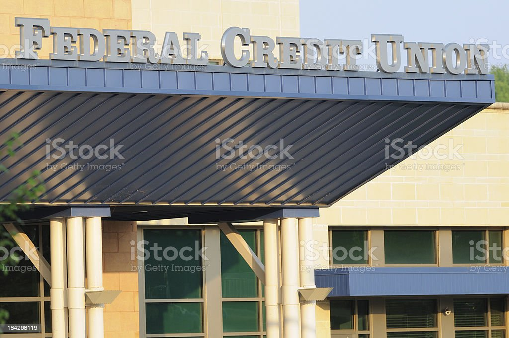 Federal credit union sign stock photo
