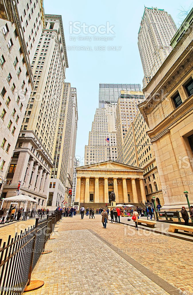 Federal Hall and tourists in Wall Street in Lower Manhattan stock photo