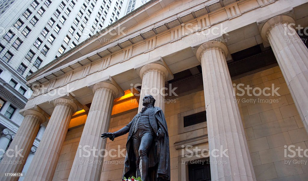 Federal Hall on Wall Street, NY stock photo
