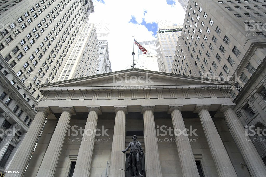 Federal Hall on Wall Street stock photo