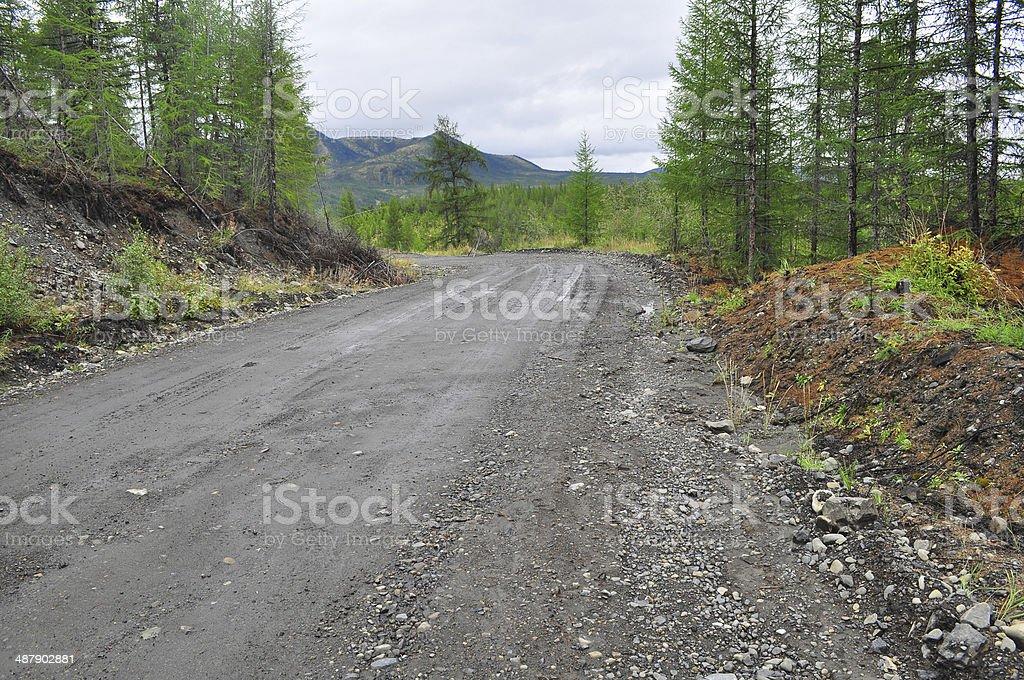 Federal highway 'Kolyma', Yakutsk - Magadan, Yakutia. stock photo