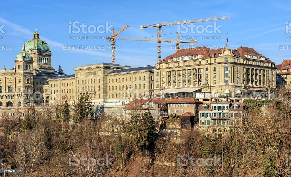 Federal Palace of Switzerland and Hotel Bellevue buildings in Bern stock photo