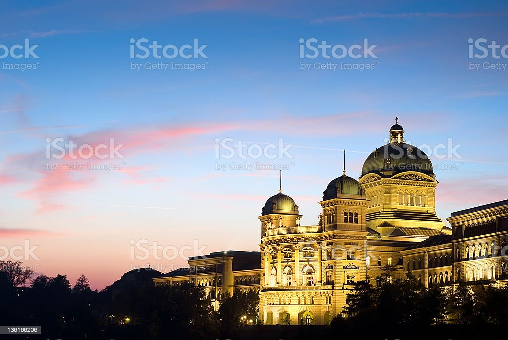 Federal Palace of Switzerland at night royalty-free stock photo
