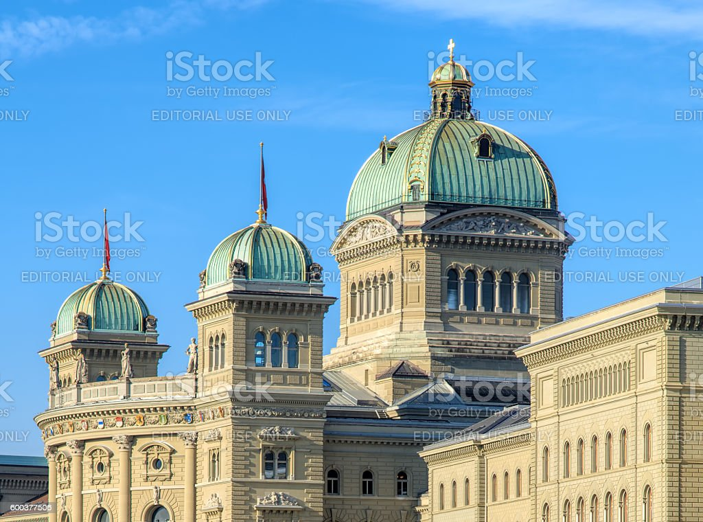 Federal Palace of Switzerland building in Bern stock photo