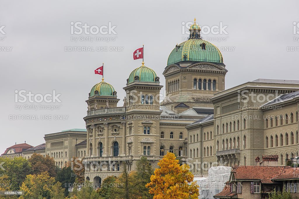 Federal Palace of Switzerland decorated with flags stock photo