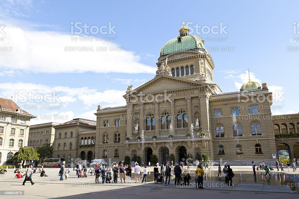 Federal Palace of Switzerland in Bern stock photo