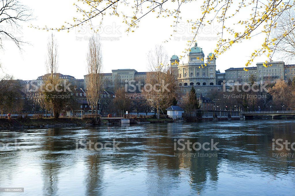 Federal Palace of Switzerland in spring royalty-free stock photo